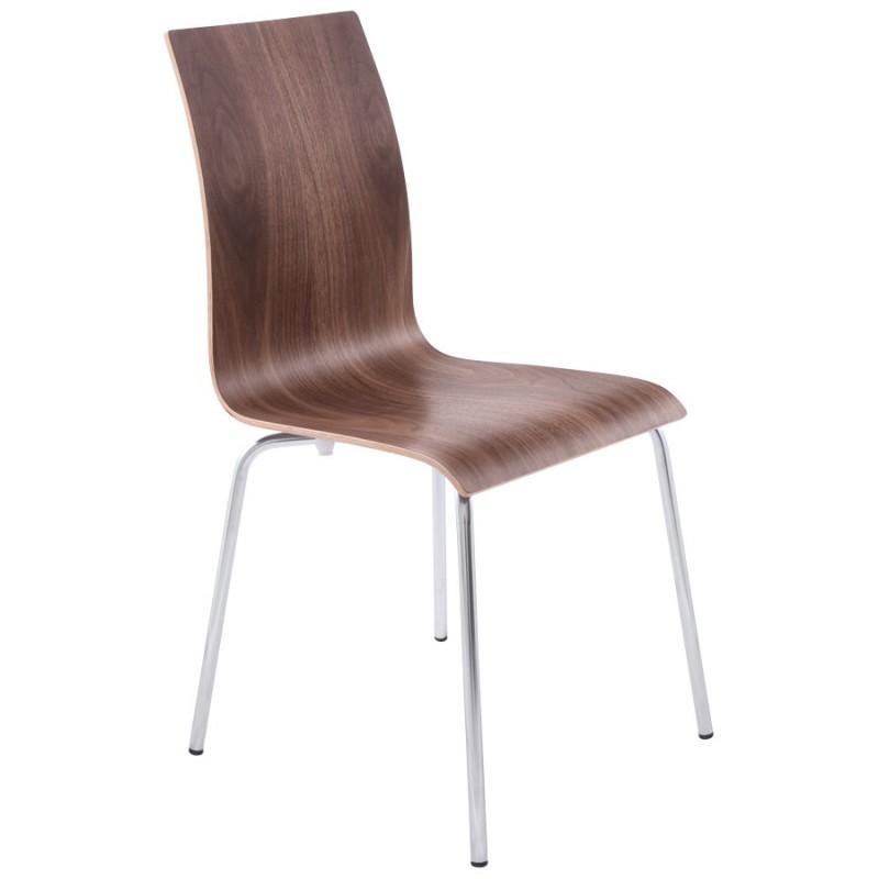 Chaise polyvalente OUST en bois et métal chromé (noyer) - image 16867