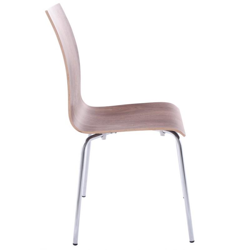 Chaise polyvalente OUST en bois et métal chromé (noyer) - image 16869