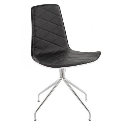 Chaise contemporaine SIOULE en polyuréthane et métal chromé (blanc et noir)