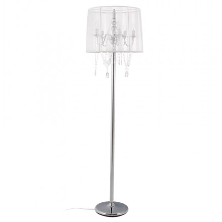 MERION design floor chrome steel lamp (white)
