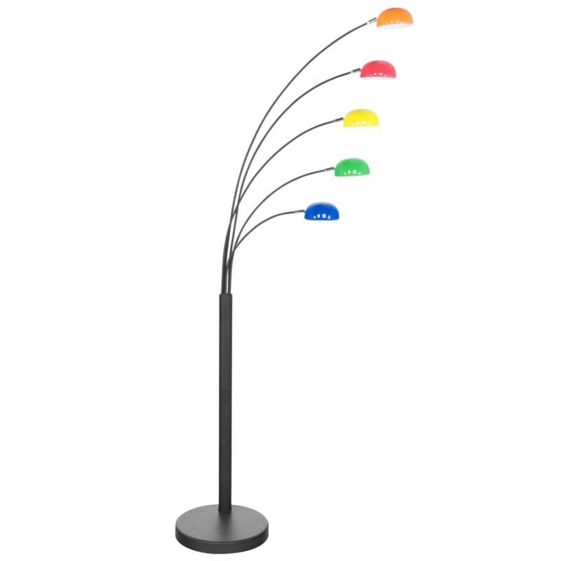 Lampe sur pied design 5 abat-jours ROLLIER en métal peint (multicolore) - image 17113