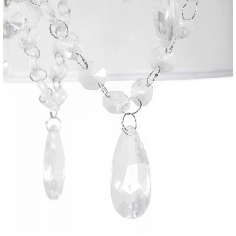 Lampe à suspension design ALOUETTE en tissu (blanc) - image 17198