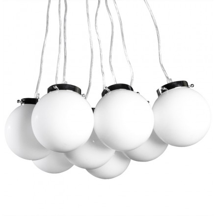 Lampe à suspension design 8 boules ARTAMIE en métal (blanc)