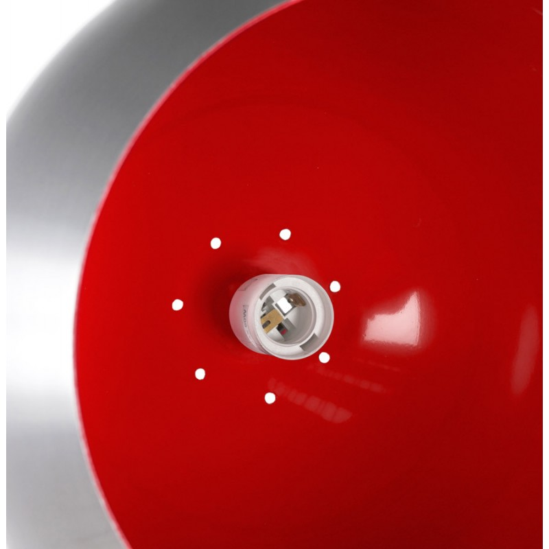 Lampe à suspension design ARGUS en métal (acier brossé et rouge) - image 17267