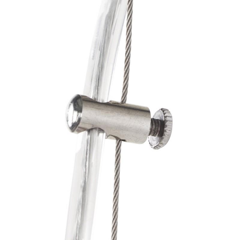 Lampe à suspension design ARGUS en métal (acier brossé et rouge) - image 17269