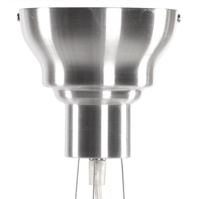 Lampe suspension design amytis en m tal argent for Lampe design suspension