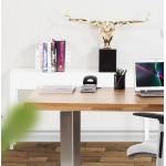 Console tavolo legno TIPKA (MDF) rivestito con poliuretano (bianco)