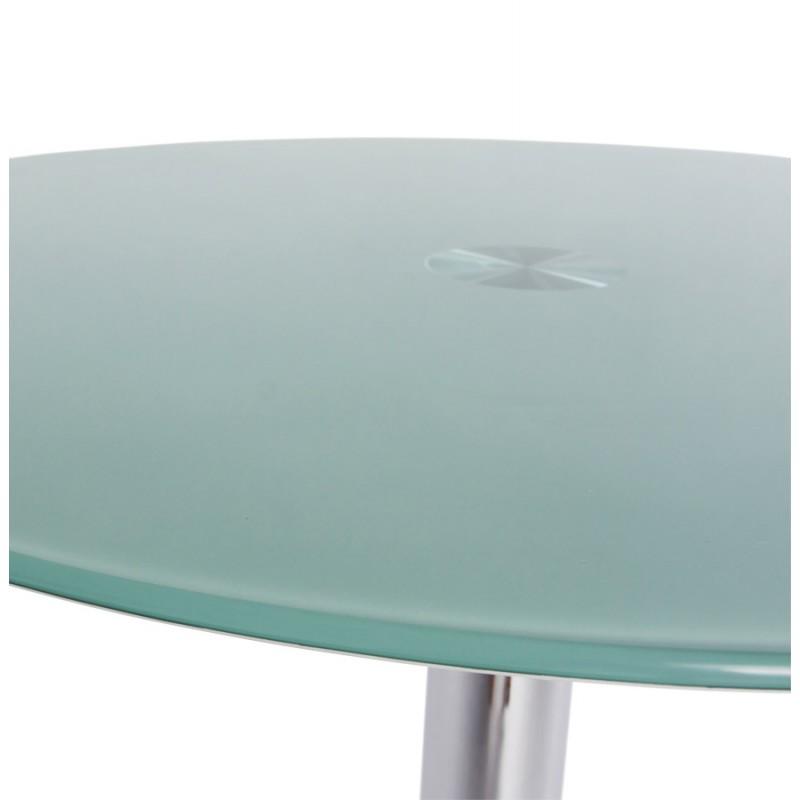 Table ronde vinyl en m tal et verre tremp blanc - Table en verre trempe blanc ...