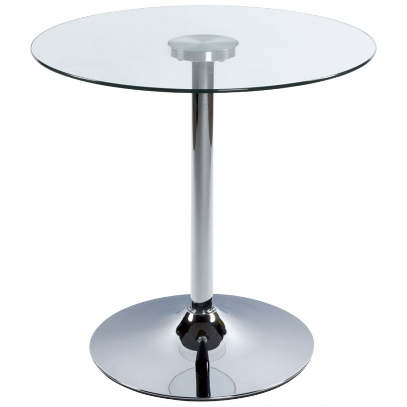 Table ronde vinyl en m tal et verre tremp transparent chrom - Table verre et metal ...