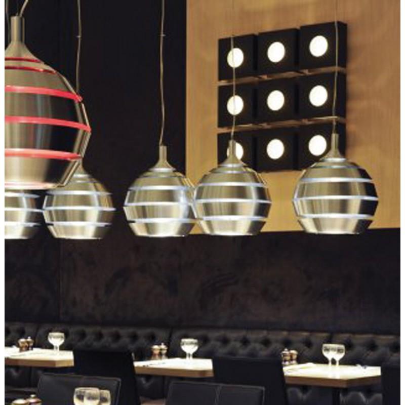 Lampe suspendue design TROGON en métal (rouge et argent) - image 18101