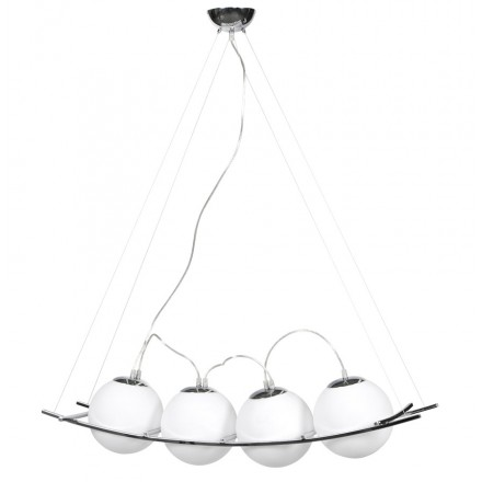 Design suspended lamp MOTMOT 4 chrome steel balls (white)