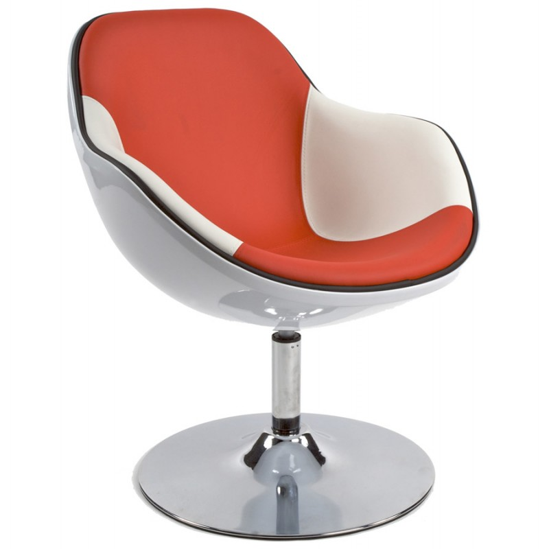 Design-Sessel Dreh RHONE (weiß und rot)