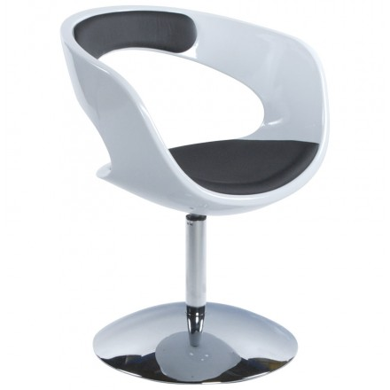 Design armchair RHIN in ABS (high-strength polymer) (black and white)