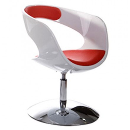 Design armchair RHIN in ABS (high-strength polymer) (white and red)
