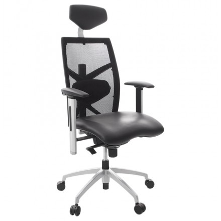 COQUETTE armchair office in polyurethane and fabric mesh (black)