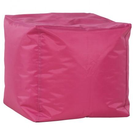 Pouf square CALANDRE textile (Pink)