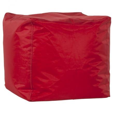 Pouf square CALANDRE textile (red)