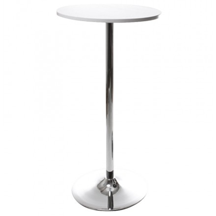 Side table high BALEARE wood and chrome metal (Ø 60 cm) (white)