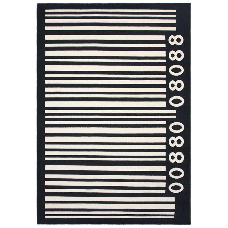 Tapis contemporain BARCODE rectangulaire grand modèle (160 X 230) (noir, blanc) - image 19899