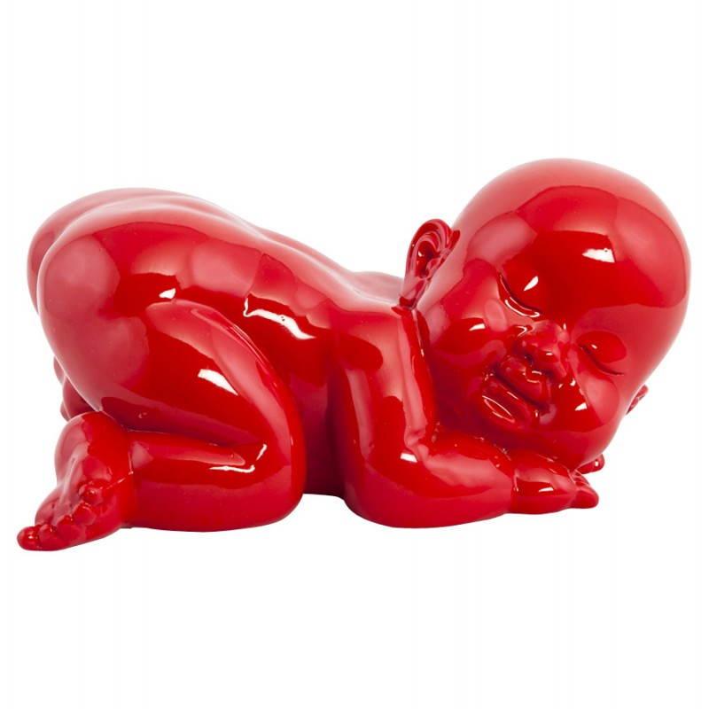 Figura forma mentira a bebé de fibra de vidrio de LAURE (rojo) - image 20208