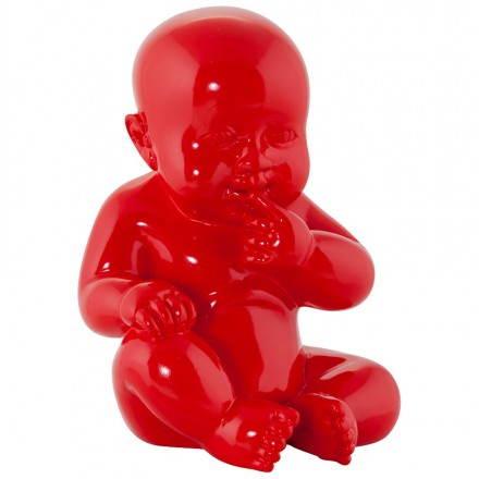 Statuette forme bébé KISSOUS en fibre de verre (rouge)