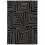 Tapis contemporain et design RAFY rectangulaire (160 X 230) (noir, blanc)