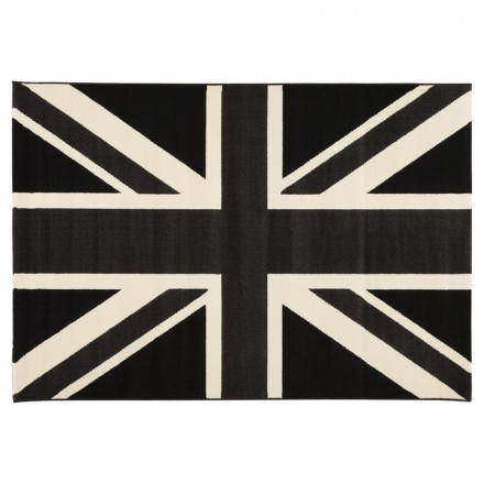 Contemporary rugs and design LARA rectangular flag UK (black, white)