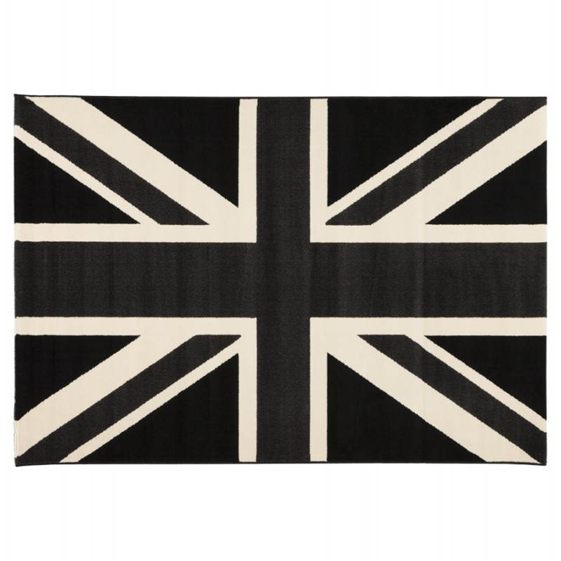 Alfombras contemporáneas y diseño rectangular de LARA bandera UK (negro, blanco)