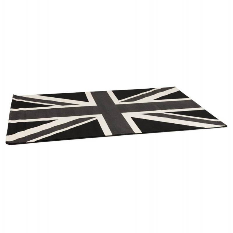 Tapis contemporain et design LARA rectangulaire drapeau UK (noir, blanc) - image 20465