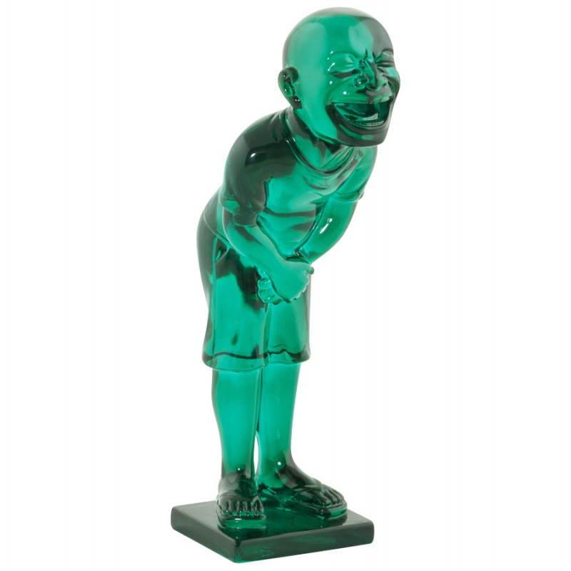Estatua sonriente MOUSSON de fibra de vidrio con forma de muñeco de nieve (verde)