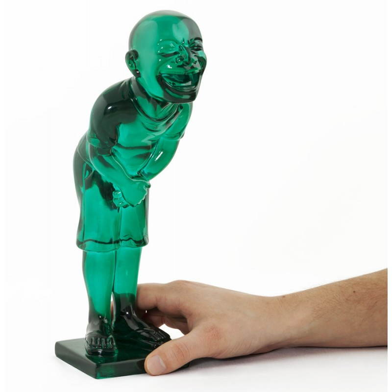 Estatua sonriente MOUSSON de fibra de vidrio con forma de muñeco de nieve (verde) - image 20550