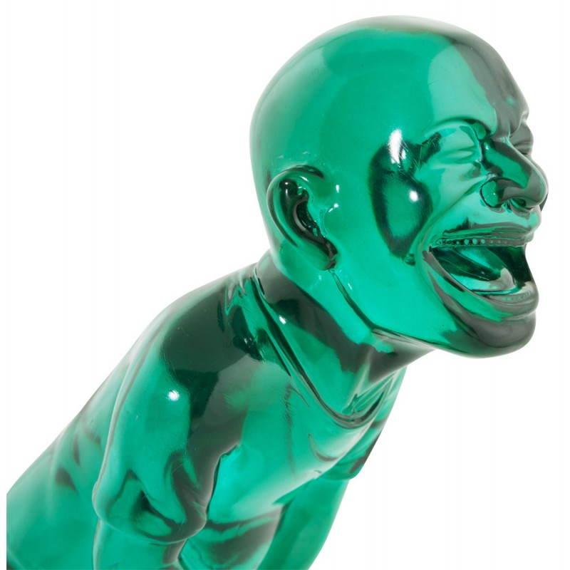 Estatua sonriente MOUSSON de fibra de vidrio con forma de muñeco de nieve (verde) - image 20553