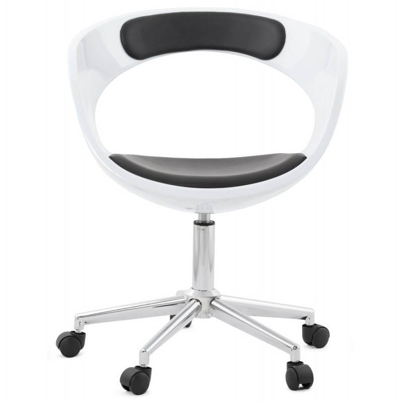 Chaise de bureau sph re rotative ramos blanc et noir - Chaise de bureau cuir blanc ...