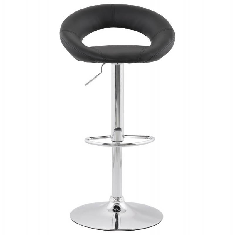 tabouret de bar rond contemporain rotatif et r glable iris noir. Black Bedroom Furniture Sets. Home Design Ideas