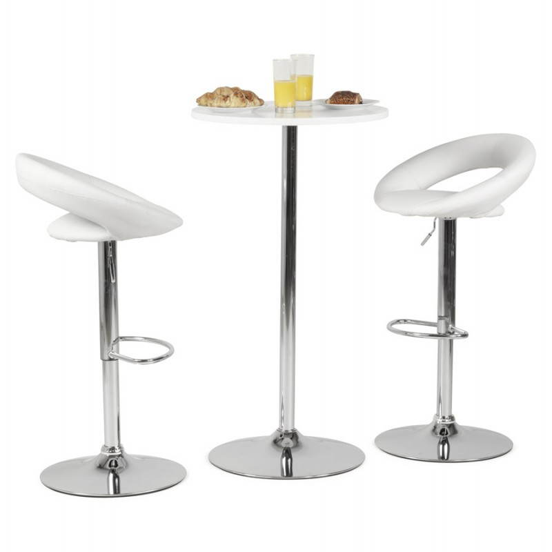 Contemporary round and adjustable bar stool IRIS (white) - image 20643