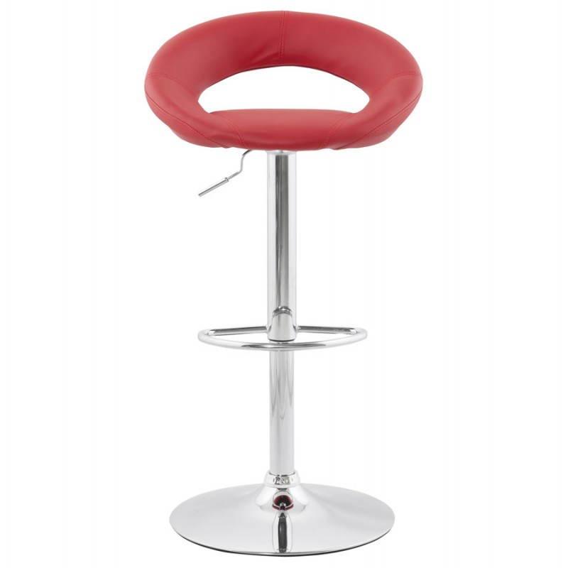 Tabouret de bar rond contemporain rotatif et réglable IRIS (rouge) - image 20646
