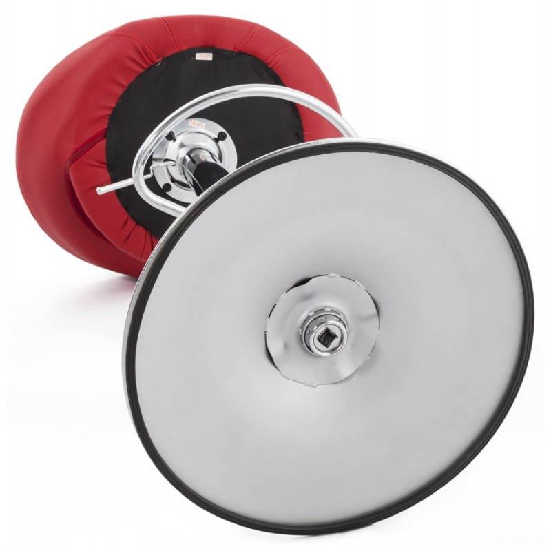 Tabouret de bar rond contemporain rotatif et réglable IRIS (rouge) - image 20660