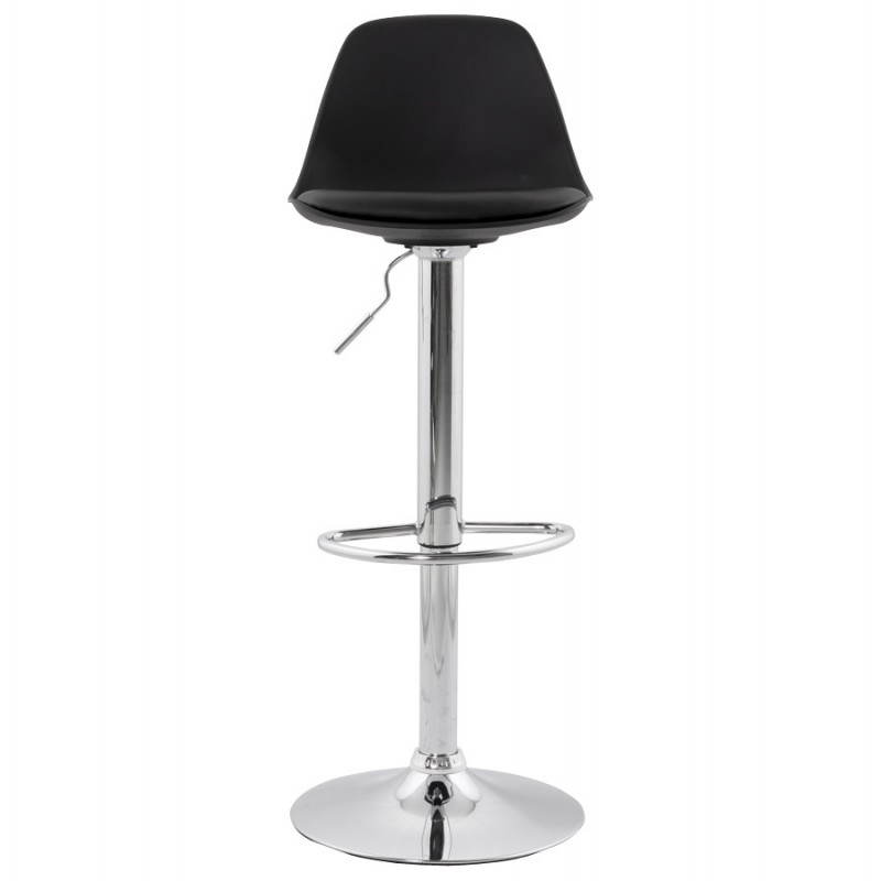 Tabouret de bar rond contemporain rotatif et réglable ROBIN (noir) - image 20665