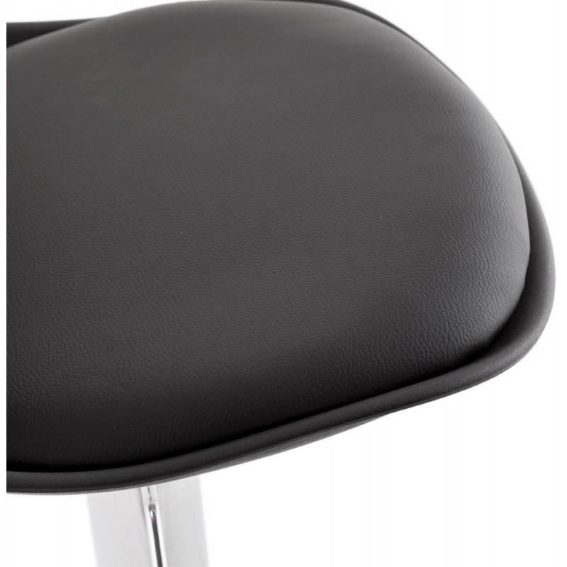 Tabouret de bar rond contemporain rotatif et réglable ROBIN (noir) - image 20671
