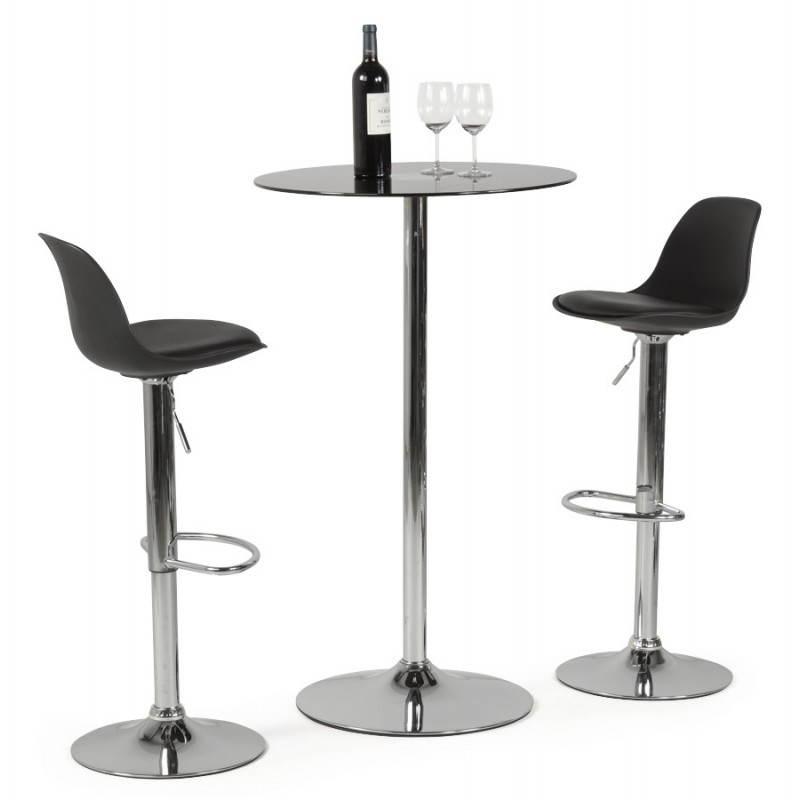 Tabouret de bar rond contemporain rotatif et réglable ROBIN (noir) - image 20678