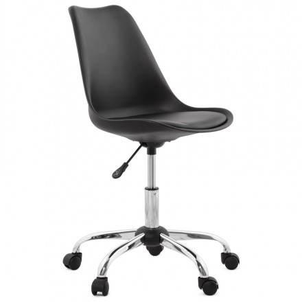 Chaise de bureau design PAUL en polyuréthane et métal chromé (noir)