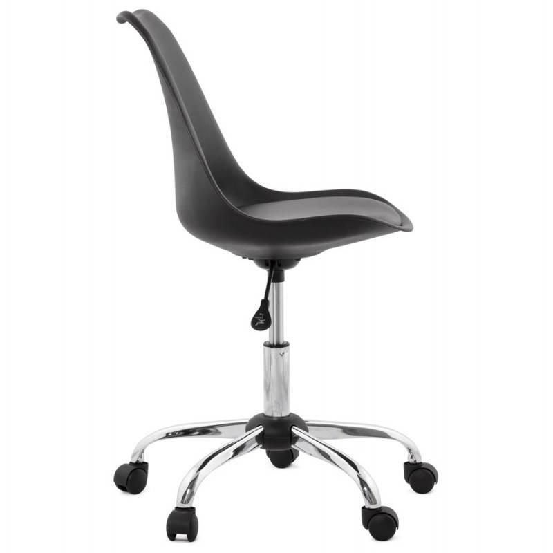 Chaise de bureau design PAUL en polyuréthane et métal chromé (noir) - image 20698
