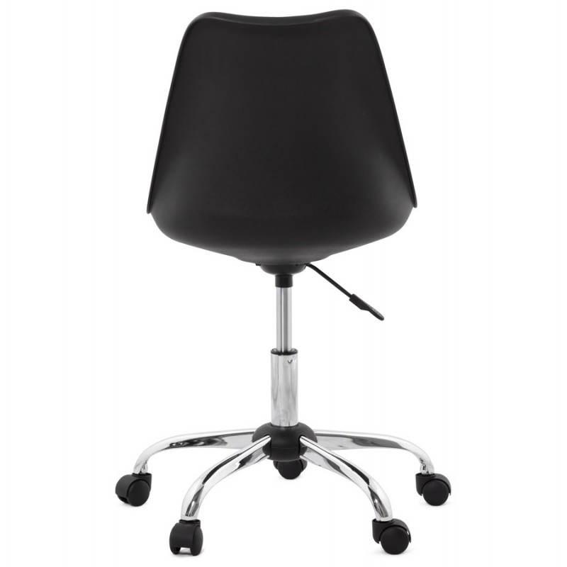 Chaise de bureau design PAUL en polyuréthane et métal chromé (noir) - image 20700