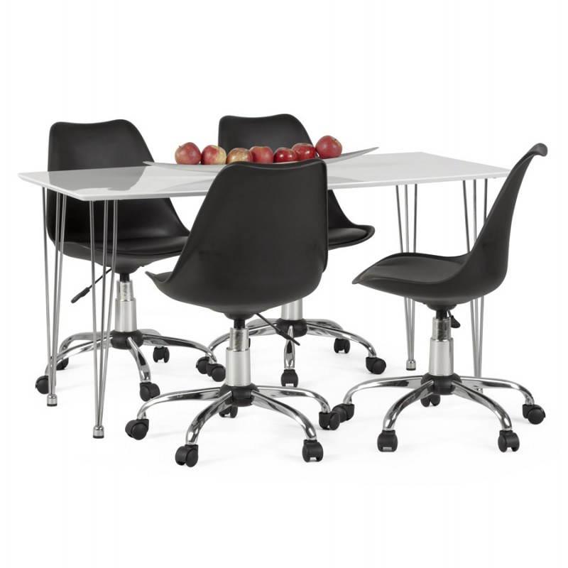 Chaise de bureau design PAUL en polyuréthane et métal chromé (noir) - image 20709