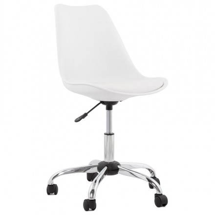 Design chair PAUL in polyurethane and chrome metal (white)