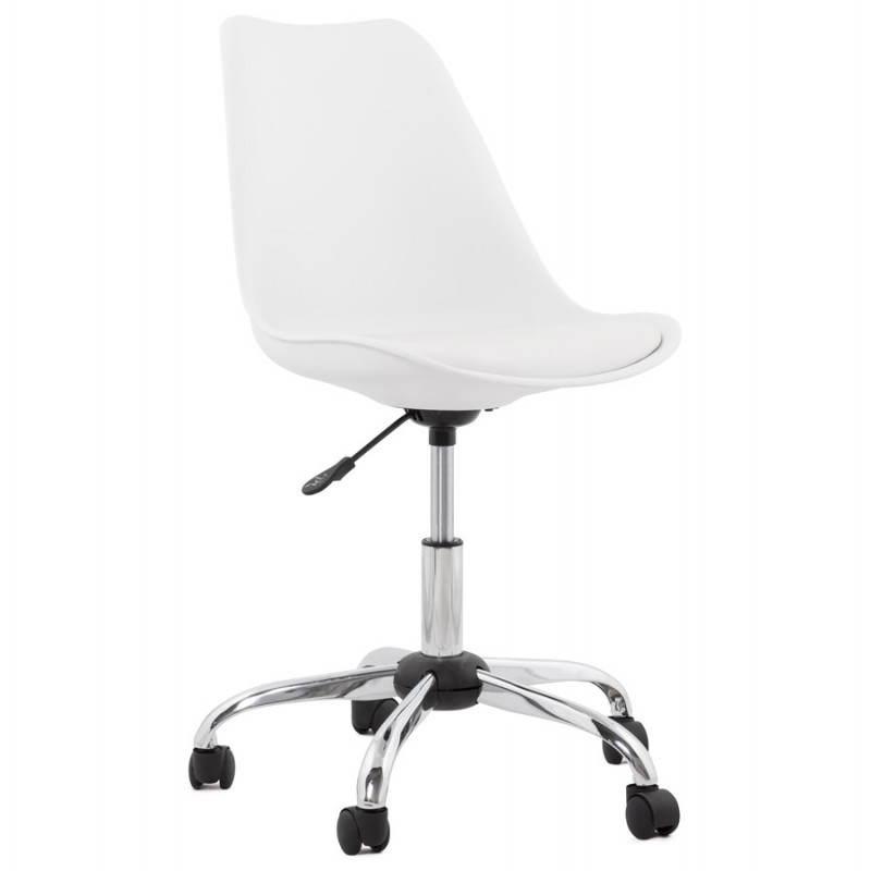 Chaise de bureau design PAUL en polyuréthane et métal chromé (blanc) - image 20710