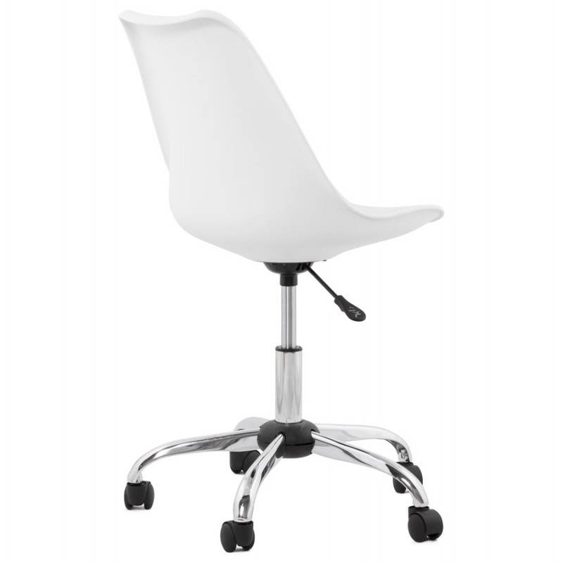 Chaise de bureau design PAUL en polyuréthane et métal chromé (blanc) - image 20713