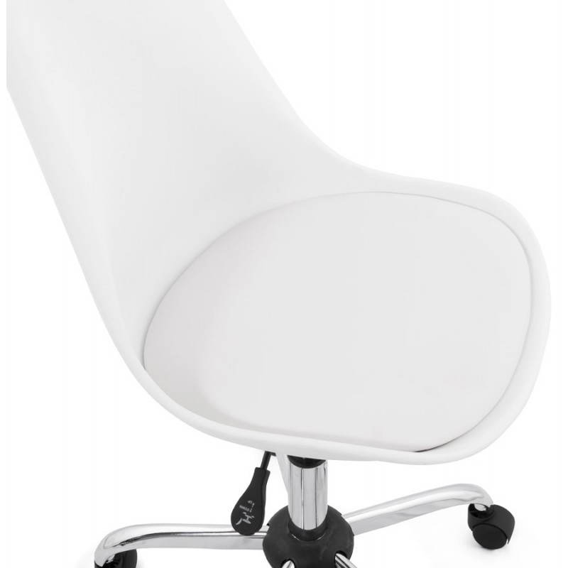 Chaise de bureau design PAUL en polyuréthane et métal chromé (blanc) - image 20715