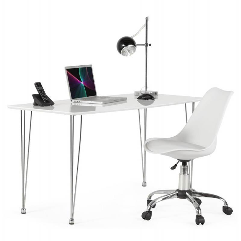 Chaise de bureau design PAUL en polyuréthane et métal chromé (blanc) - image 20722