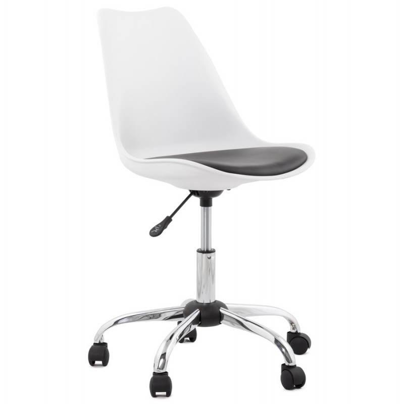 Chaise de bureau design paul en polyur thane et m tal for Chaise de bureau cuir blanc